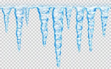 Hanging stalactites répétables sans soudure translucides dans les couleurs bleu sur fond transparent. Transparence seulement dans le fichier vectoriel