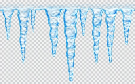 Hanging translucent seamless repeatable icicles in blue colors on transparent background. Transparency only in vector file