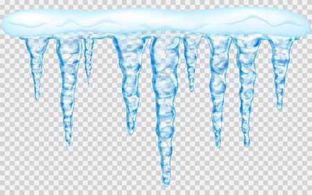 Hanging translucent icicles with snow in light blue colors on transparent background. Transparency only in vector file