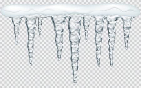 Hanging ghiaccioli traslucidi di neve nei colori grigio su sfondo trasparente. La trasparenza solo in file vettoriali