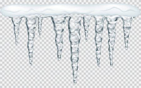 Hanging translucent icicles with snow in gray colors on transparent background. Transparency only in vector file