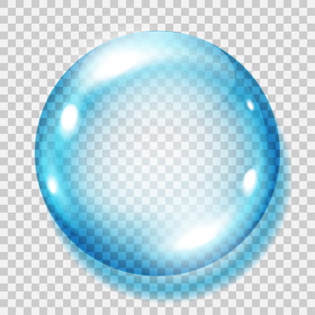 blue sphere: Big transparent light blue sphere with shadow on transparent background. Transparency only in vector file