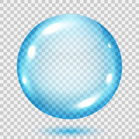 Big transparent light blue sphere with shadow on transparent background. Transparency only in vector file