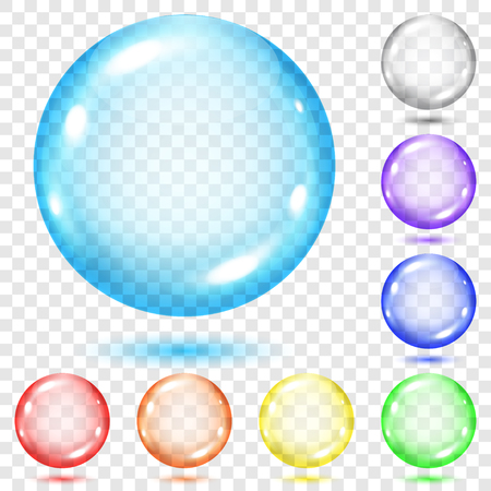 Set of transparent colored spheres with shadows on transparent background. Transparency only in vector file