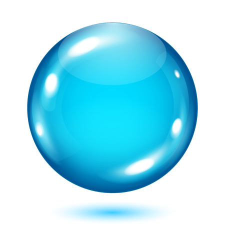 opaque: Big opaque light blue sphere with shadow on white background