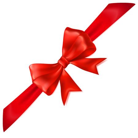 diagonally: Beautiful red bow with diagonally ribbon with shadow