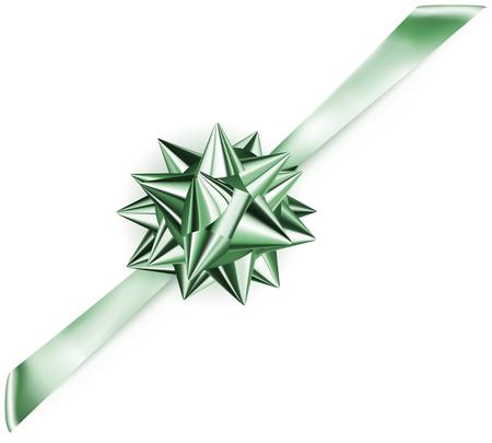 diagonally: Beautiful green shiny bow with diagonally ribbon with shadow