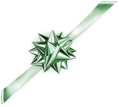 Beautiful green shiny bow with diagonally ribbon with shadow