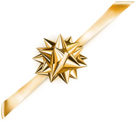 diagonally: Beautiful golden shiny bow with diagonally ribbon with shadow