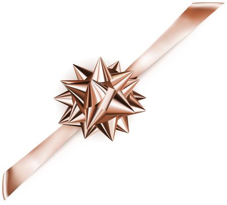 diagonally: Beautiful bronze shiny bow with diagonally ribbon with shadow