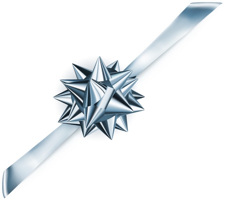 diagonally: Beautiful blue shiny bow with diagonally ribbon with shadow Illustration