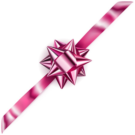 Beautiful pink shiny bow with diagonally ribbon with shadow