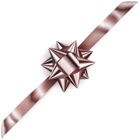 diagonally: Beautiful shiny bow with diagonally ribbon with shadow