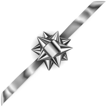 diagonally: Beautiful silver shiny bow with diagonally ribbon with shadow Illustration