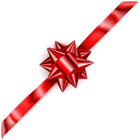 diagonally: Beautiful red shiny bow with diagonally ribbon with shadow Illustration