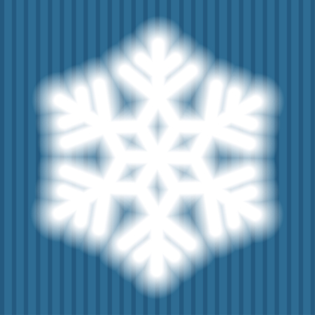 Big white snowflake with soft translucent edges on blue striped background. Transparency only in vector file