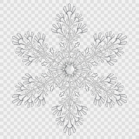 Big translucent crystal snowflake in gray colors on transparent background. Transparency only in vector file  イラスト・ベクター素材