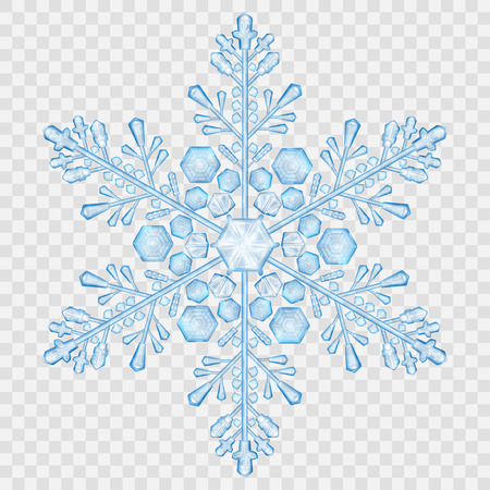 Big translucent crystal snowflake in light blue colors on transparent background. Transparency only in vector file Çizim