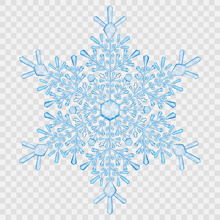 transparency: Big translucent crystal snowflake in light blue colors on transparent background. Transparency only in vector file Illustration