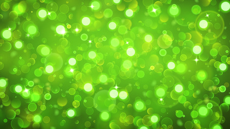 Abstract background with bokeh effect. Blurred defocused lights in green colors. Bokeh lights with sparkles.