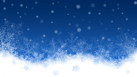 Christmas background with white snowflakes and snowdrifts on blue background. Falling snowflakes. Christmas vector illustration of beautiful big and small snowflakes Illustration