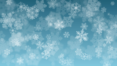Christmas background with white blurred and clear snowflakes on light blue background. Snowfall of small snowflakes. Christmas vector illustration of beautiful snowflakes Ilustração