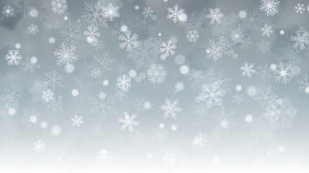 Christmas background with white blurred and clear snowflakes on gray background. Snowfall of small snowflakes. Christmas vector illustration of beautiful snowflakes