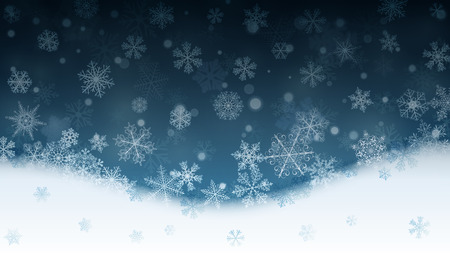 Christmas background with white snowflakes and snowdrifts on turquoise background. Falling snowflakes. Christmas vector illustration of beautiful big and small snowflakes Illustration