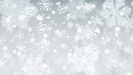 Christmas background with white blurred and clear snowflakes on gray background. Big fuzzy and clear small snowflakes. Christmas vector illustration of beautiful snowflakes