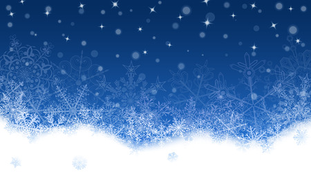 snowdrifts: Christmas background with white snowflakes and snowdrifts on blue background. Falling snowflakes. Christmas vector illustration of beautiful big and small snowflakes Illustration