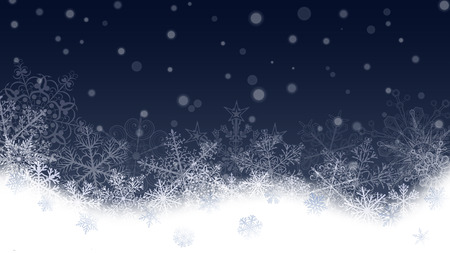 snowdrifts: Christmas background with white snowflakes and snowdrifts on dark blue background. Falling snowflakes. Christmas vector illustration of beautiful big and small snowflakes