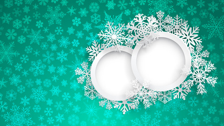 Christmas background with two round frames on turquoise background of small snowflakes. Christmas vector illustration with photo frames and beautiful snowflakes. Two rings, surrounded by snowflakes