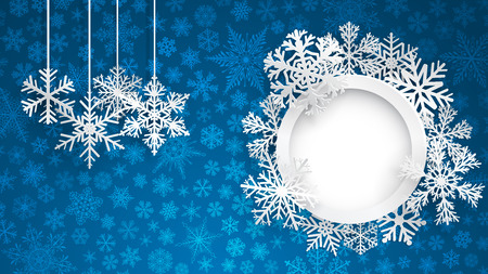 Christmas background with round frame surrounded by snowflakes and several hanging snowflakes on blue background of small snowflakes. Christmas illustration with snowflakes and round photo frame