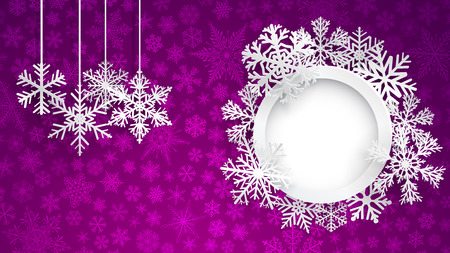 Christmas background with round frame surrounded by snowflakes and several hanging snowflakes on violet background of small snowflakes. Christmas illustration with snowflakes and round photo frame Illustration