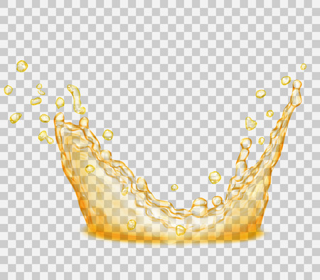 Transparent water splash in yellow colors, isolated on transparent background. Scatter spray from falling into the water. Crown from splash of water. Transparency only in vector file