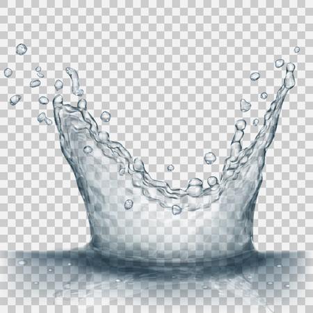 Spruzzata acqua trasparente nei colori grigi, isolata su sfondo trasparente. Spargere lo spruzzo dalla caduta nell'acqua. Corona dalla spruzzata d'acqua. Trasparenza solo nel file vettoriale