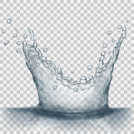 Transparent water splash in gray colors, isolated on transparent background. Scatter spray from falling into the water. Crown from splash of water. Transparency only in vector file