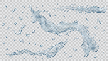 Set of transparent water splashes and water drops in light blue colors, isolated on transparent background. Transparency only in vector file Illustration