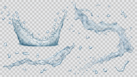 Set of transparent water splashes, water drops and crown from falling into the water in light blue colors, isolated on transparent background. Transparency only in vector file Ilustração