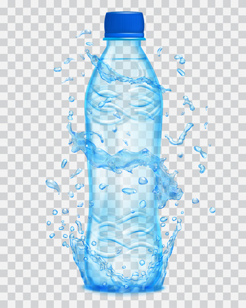 Transparent water splashes in light blue colors around a light blue transparent plastic bottle with mineral water. Bottle with blue cap, filled with mineral water. Transparency only in vector file