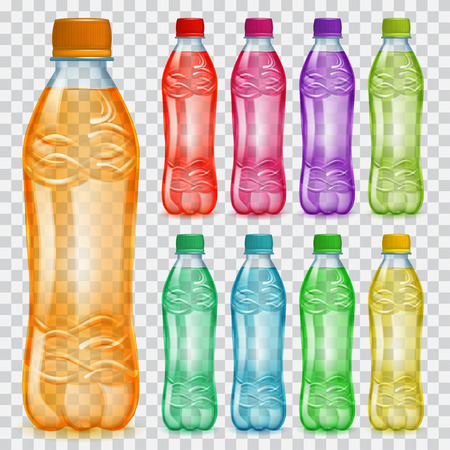 semitransparent: Set of transparent plastic bottles with multicolored liquids. Bottles with colored caps, filled with various colorful juices. Transparency only in vector file Illustration