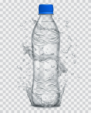 Transparent water splashes in gray colors around a gray transparent plastic bottle with mineral water. Bottle with blue cap, filled with mineral water. Transparency only in vector file