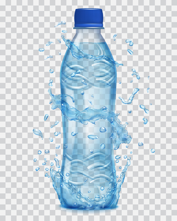 透明な水は、天然水と光青透明プラスチック ボトルの周りの光の青の色に跳ねます。ミネラル水で満ちている青い帽子の瓶。ベクター ファイルのみ