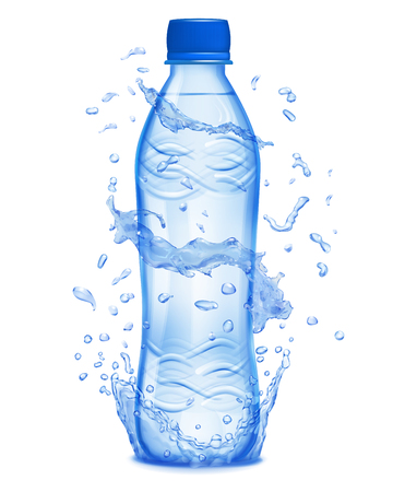 Water splashes in blue colors around a blue plastic bottle with mineral water. Bottle with blue cap, filled with mineral water