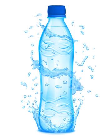 vasos de agua: salpicaduras de agua en colores azules de luz alrededor de una botella de plástico de color azul claro con agua mineral. Botella con tapón azul, lleno de agua mineral