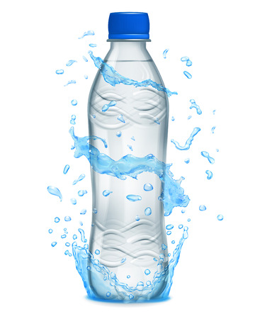 nonalcoholic: Water splashes in light blue colors around a gray plastic bottle with mineral water. Bottle with blue cap, filled with mineral water