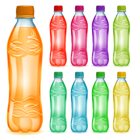 plastic bottles: Set of plastic bottles with multicolored liquids. Bottles with colored caps, filled with various colorful juices