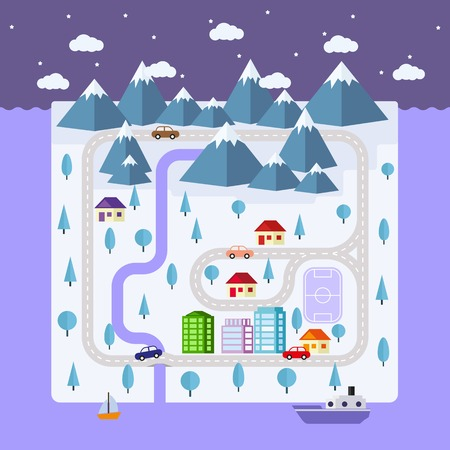 illustration for advertising: Winter small town on the island. roads, houses, cars, boats and mountains in a flat style. Illustration for advertising, packaging, postcards. Winter landscape. Vector illustration