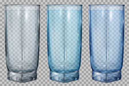 Three transparent glass for juice or water on transparent background. Transparency only in vector file