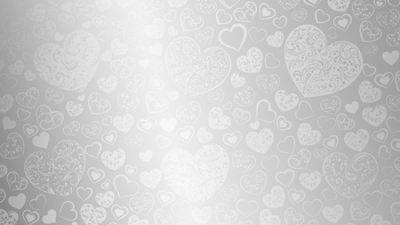 gray: Background of big and small hearts with swirls in gray colors